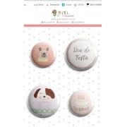 Cartela de Bottons - Dia de Festa - Coleção Amizade é Tudo - Juju Scrapbook (JJ9971)