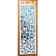 Adesivo Alfabeto Metálico - Azul - Art e Montagem (AD101-4)