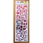 Adesivo Alfabeto Metálico - Vermelho - Art e Montagem (AD101-5)