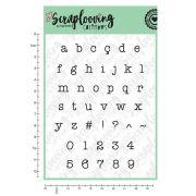 Carimbo Cartela Alfabeto Pequeno Minúsculo e Números - Máquina de Escrever - Scraplooving (C250)