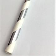 Canudo de papel - Listras prata com brando (CP-04)