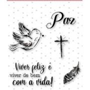 Carimbo M Viver feliz - Coleção Vai com fé - Juju Scrapbook (10125)