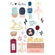 Cartela de Adesivos Amo Londres - Coleção Mundo Mágico - Juju Scrapbook (AJJ001)