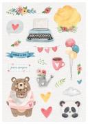 Cartela de adesivos Você + Eu - Coleção Abraço de urso - Juju Scrapbook (8497)
