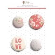 Enfeite Bottons Chuva de Amor - Coleção Cartas para Você - JuJu Scrapbook (11497)