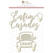 Enfeite Chipboard Branco Enfim Casados - Colecao Felizes Para Sempre - JuJu Scrapbook (10609)