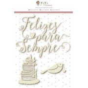 Enfeite Chipboard Branco Felizes - Colecao Felizes Para Sempre - JuJu Scrapbook (106091)