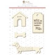 Enfeite Chipboard Branco Mãe de Cachorro também é Mãe  - Coleção Família para Sempre - Juju Scrapbook (11257)