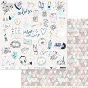 Papel Scrap - Adore - Coleção Coisas do Coração - It Lov