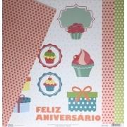Papel Scrap - Recortes - Coleção Feliz Aniversário - Oficina do Papel (0175500)