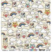 Papel Scrap - Fly Me to the Clouds - Coleção Over the Rainbow - Goodies (PP0104)