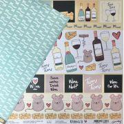 Papel Scrap - Wine & Cheese - Coleção Kitchen & Co (PP136)