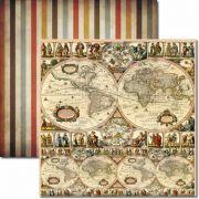 SC-112 - Papel Scrap - Mapa Mundi - Arte Fácil