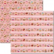 Papel Scrap - Cupcakes Rosa 2 - Arte Fácil (SC-241)