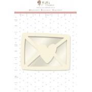 Shaker Box Chipboard Branco Cartinha - Coleção Cartas para Você - JuJu Scrapbook (11637)