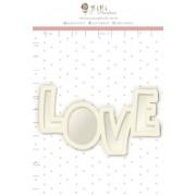 Shaker box Chipboard Branco Love - Coleção Cartas para Você - JuJu Scrapbook (11643)