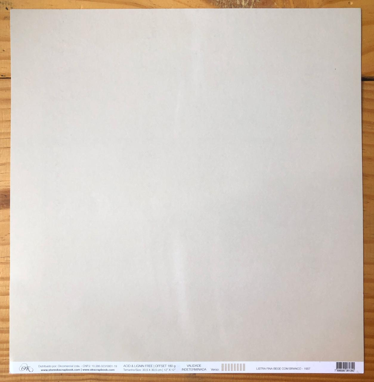 Papel Scrap - Listra Fina Bege com Branco - Ok Scrapbook (1957)