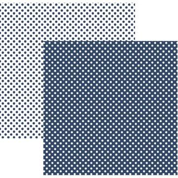 Papel Scrap - Poá Pequeno Azul Marinho (KFSB452) - Toke e Crie (19993)