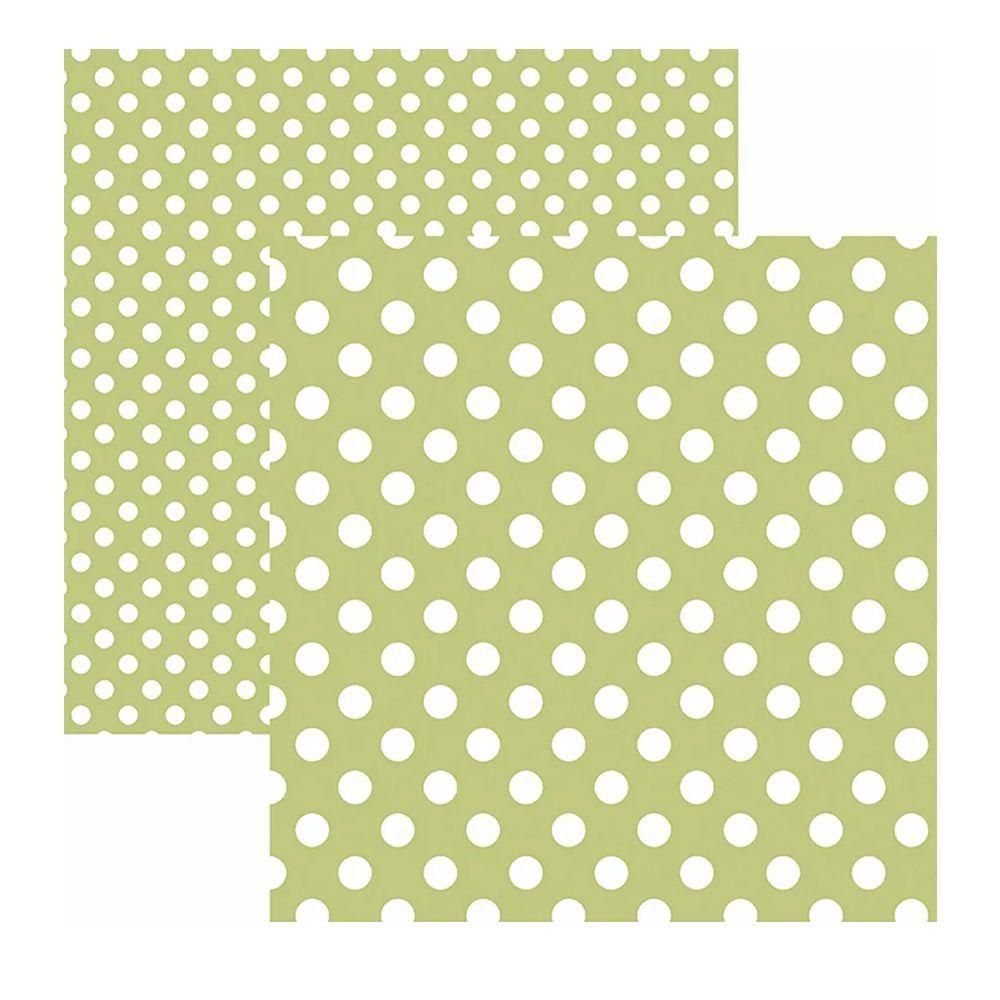 Papel Scrap - Poá Grande Verde Claro - Toke e Crie (20023)