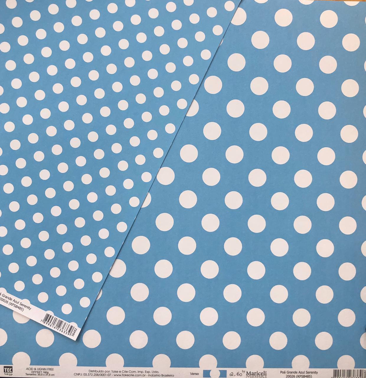 20026 - Papel Scrap - Poá Grande Azul - Toke e Crie