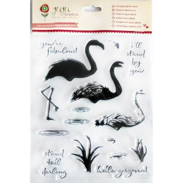 Carimbo de Silicone Flamingos - Juju Scrapbook (21435)