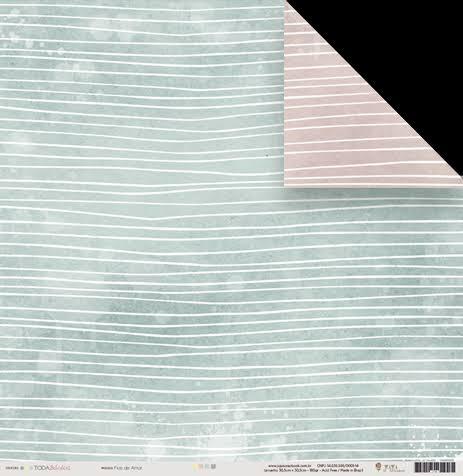 22458 - Papel Scrap - Fios de Amor - Coleção Toda Básica - Juju Scrapbook