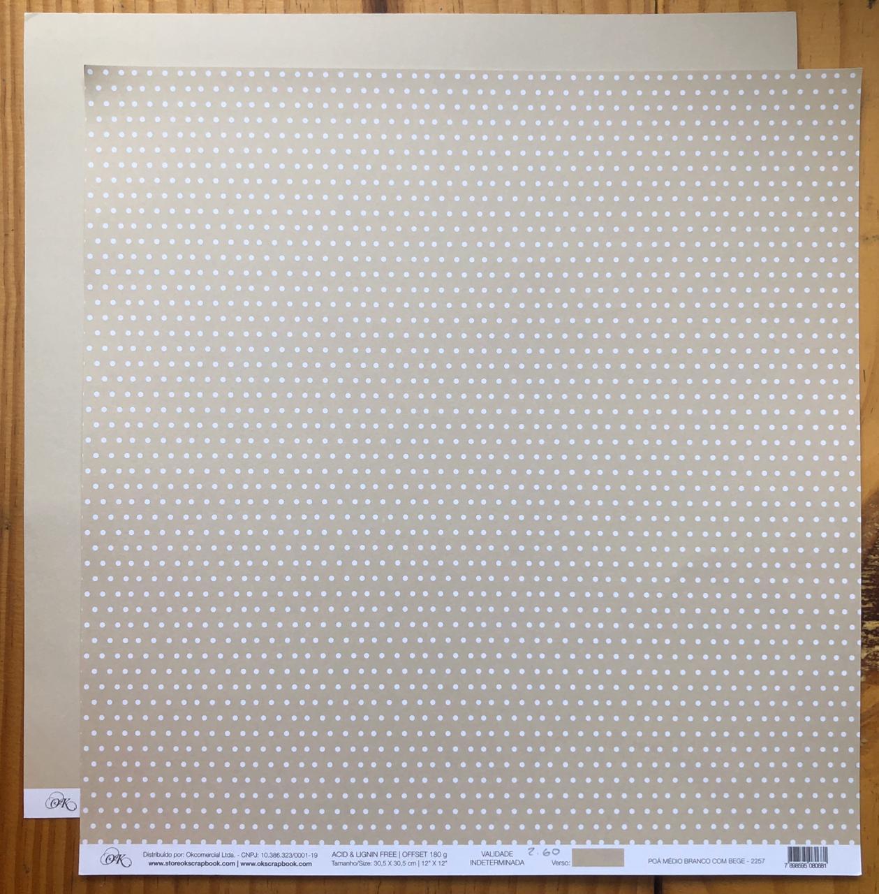 Papel Scrap - Poá Médio Branco com Bege - Ok Scrapbook (2257)