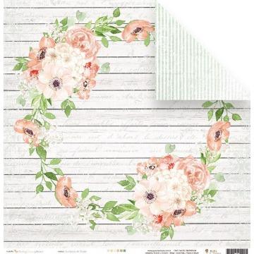 22889 - Papel Scrap - Guirlanda de Flores - Coleção Shabby Dreams - Juju Scrapbook