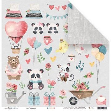 Papel Scrap - Vamos Sorrir - Coleção Abraço de Urso - Juju Scrapbook (23170)
