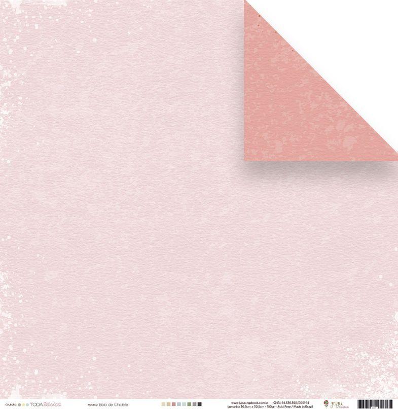 Papel Scrap - Bola de Chiclete - Coleção Toda Básica - Juju Scrapbook (23491)