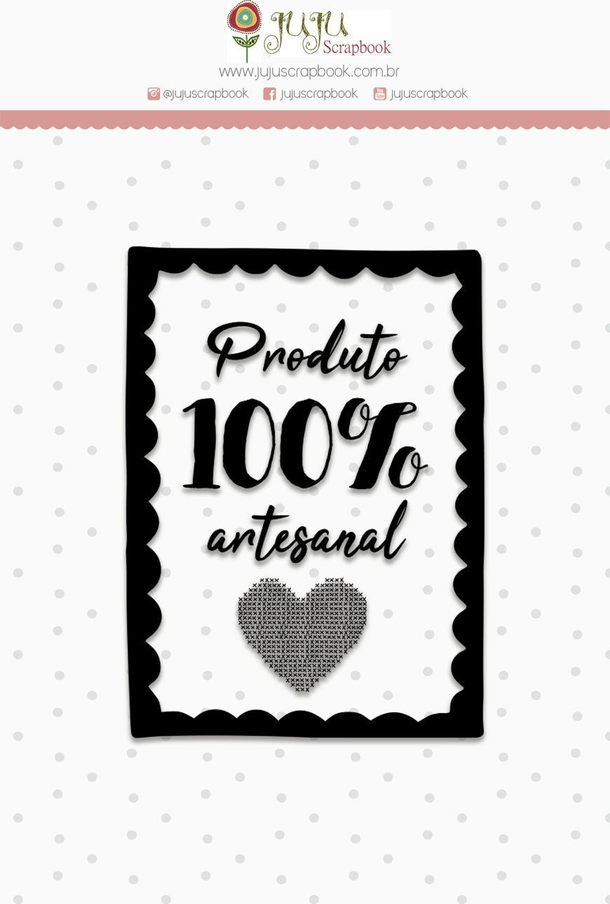 23543 - Carimbo M 100% Artesanal - Coleção Love Scrap - Juju Scrapbook