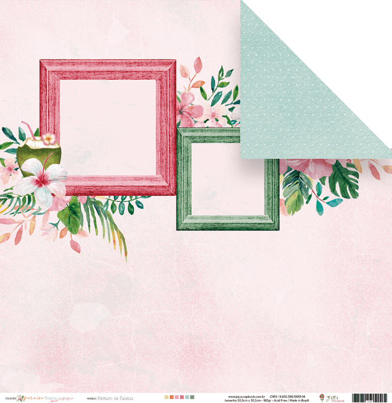 Papel Scrap - Retrato de Família - Coleção Paraíso Tropical - Juju Scrapbook (23599)