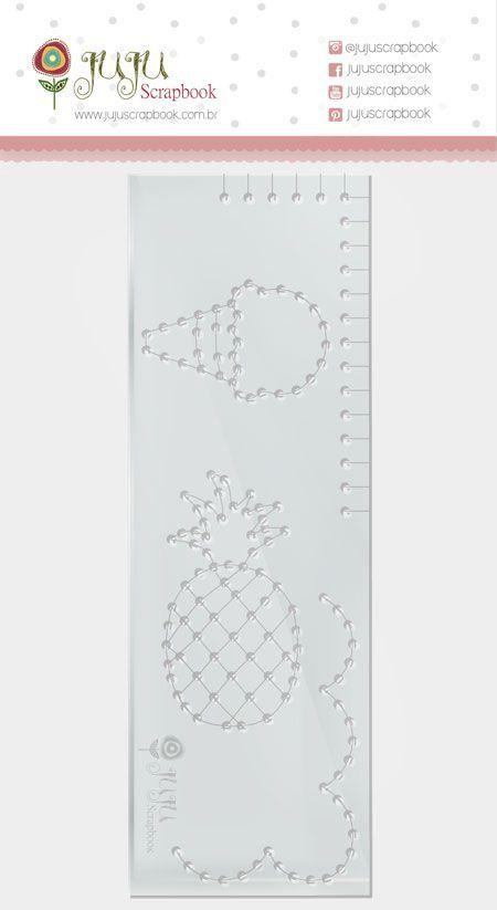 23637 - Régua de Costura - Abacaxi - Coleção Paraíso Tropical - Juju Scrapbook