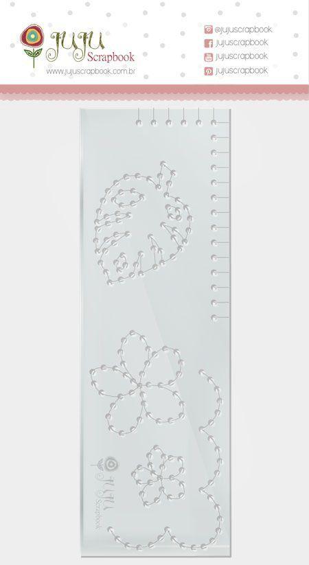 23640 - Régua de Costura - Folha - Coleção Paraíso Tropical - Juju Scrapbook