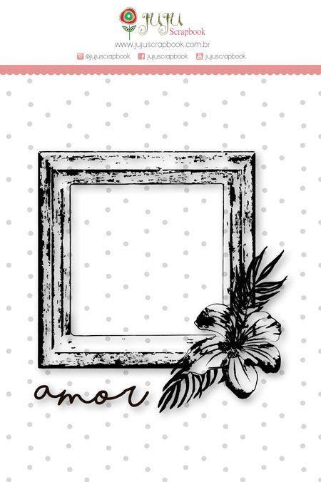 Carimbo G - Moldura Amor - Coleção Paraíso Tropical - Juju Scrapbook (23669)