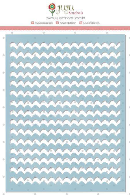 Cartela de Stencil - Chevron - Coleção Paraíso Tropical - Juju Scrapbook (9489)