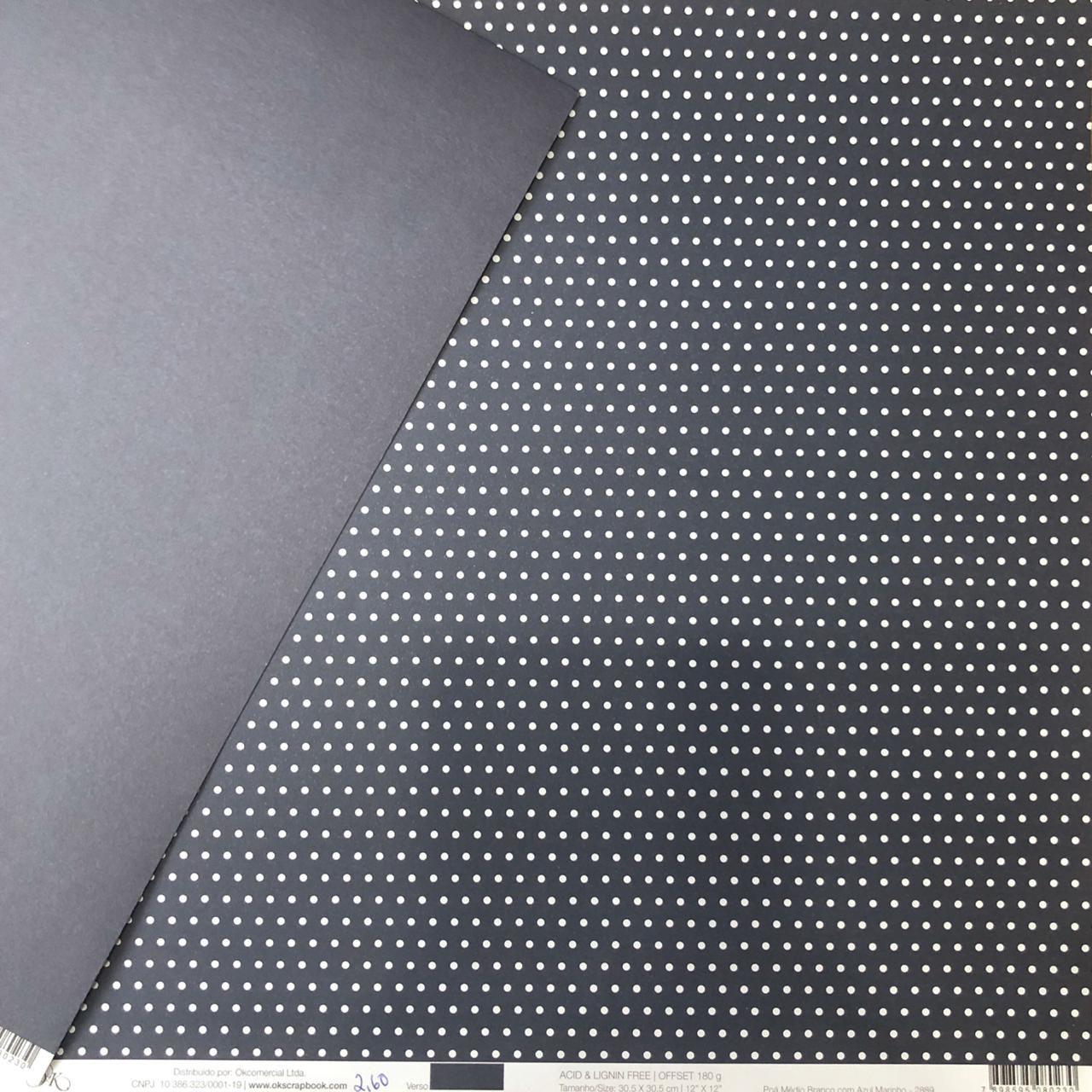 2889 - Papel Scrap - Poá Médio Branco com Azul Marinho - Ok Scrapbook