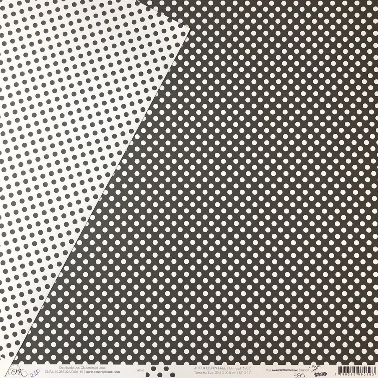 Papel Scrap - Poá Branco e Preto - Ok Scrapbook (395)