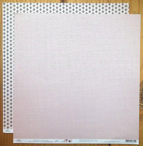 4061 - Papel Scrap - Flor de Lis e Mini Poá Preto - Ok Scrapbook