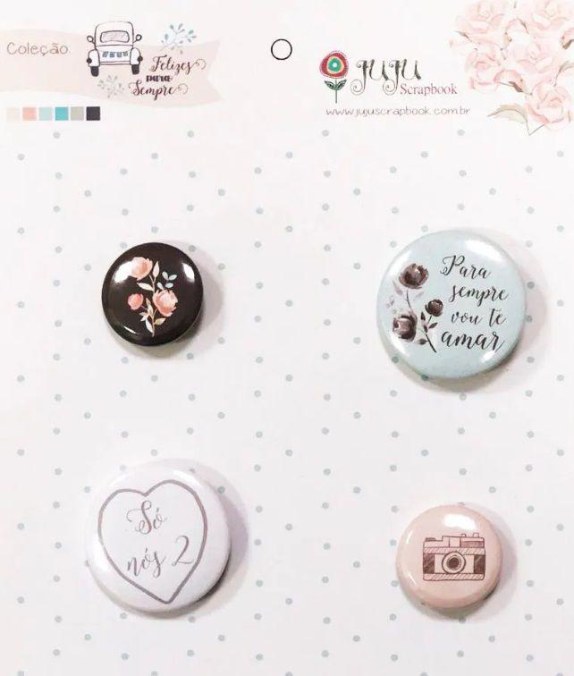Cartela de Bottons - Para Sempre - Coleção Felizes para Sempre - Juju Scrapbook (6546)