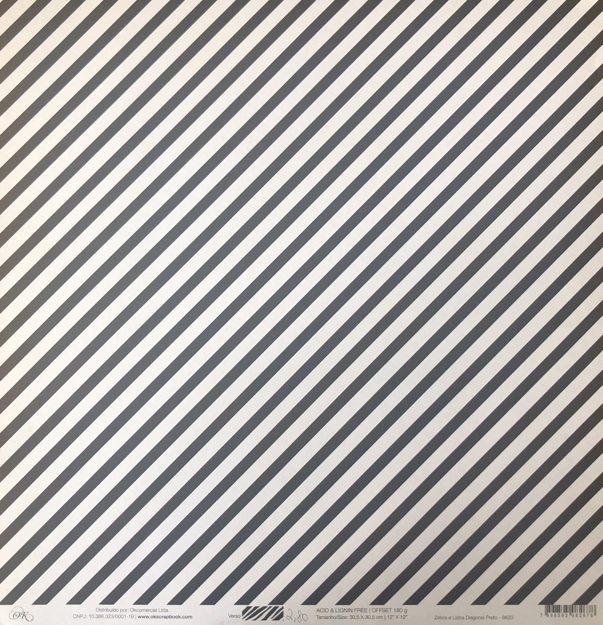 Papel Scrap - Zebra e Listra Diagonal Preto - Ok Scrapbook (6620)