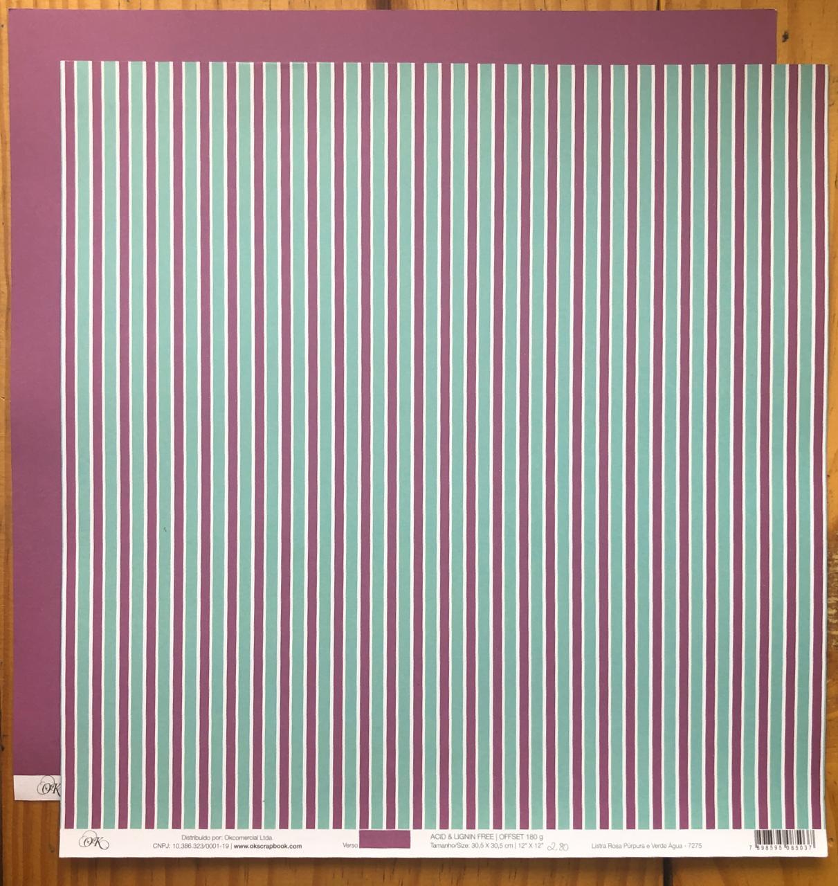 7275 - Papel Scrap - Listra Rosa Púrpura e Verde Água - Ok Scrapbook