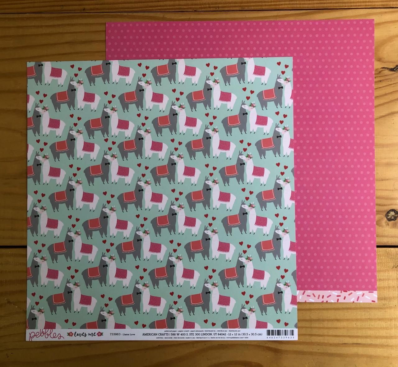 Papel Scrap - Llama Love - Coleção Loves Me - Pebbles (733963)