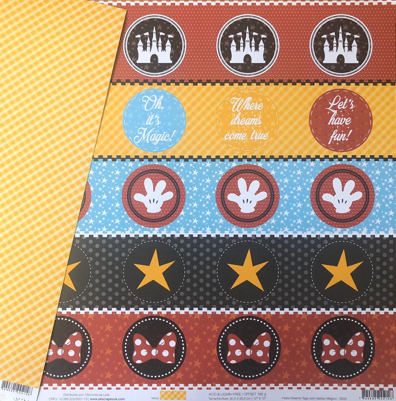 Papel Scrap - Festa Dreams Tags com Xadrez Mágico - Coleção Disney - Ok Scrapbook (Ok8505)