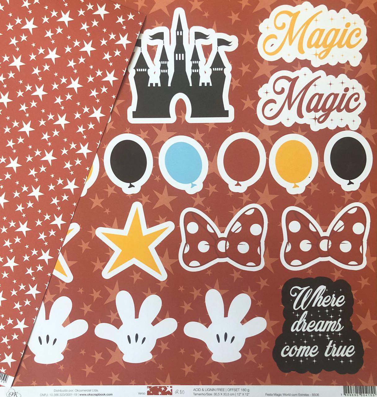 8506 - Papel Scrap - Festa Magic World com Estrelas - Coleção Disney - Ok Scrapbook