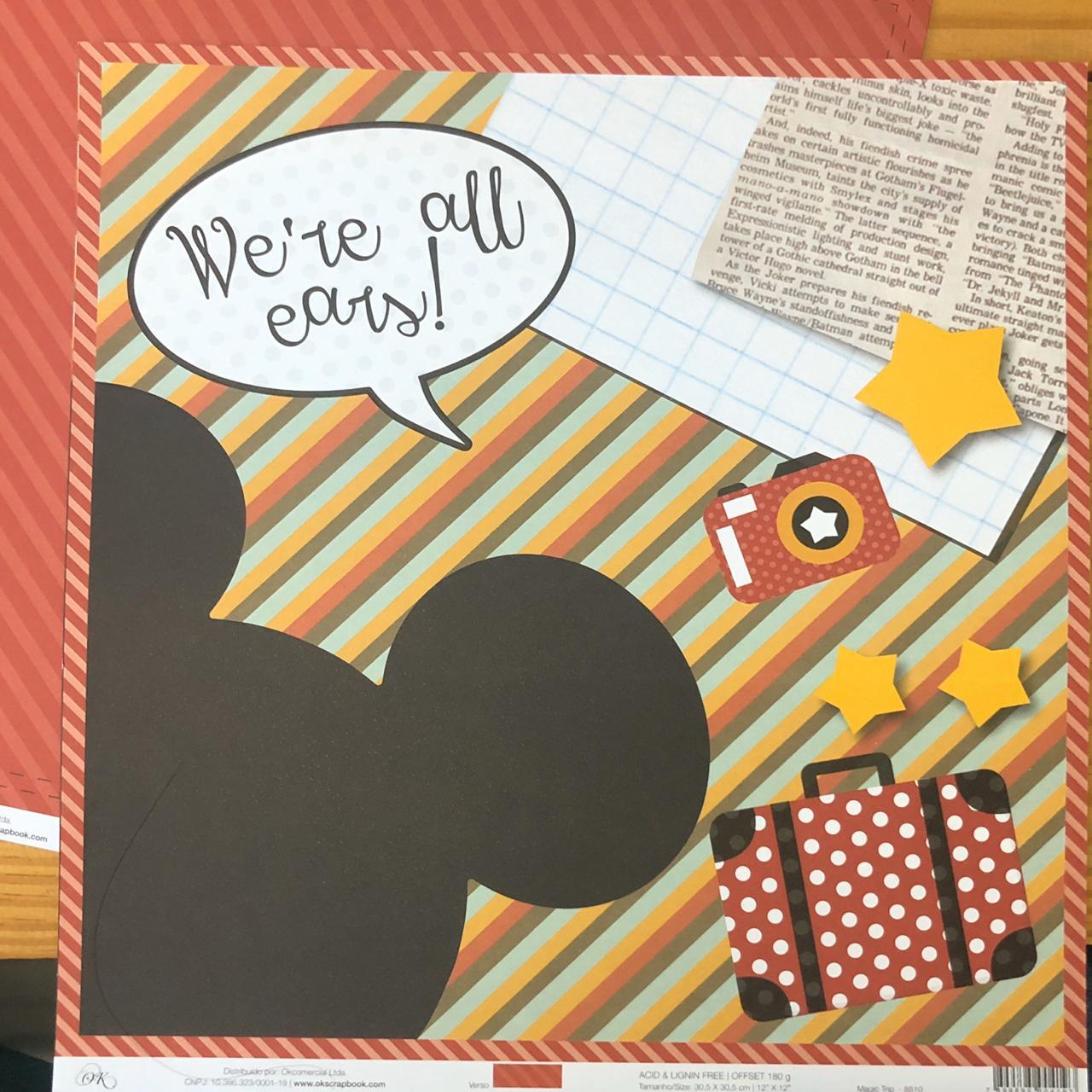 Papel Scrap - Magic Trip - Coleção Disney - Ok Scrapbook (8510)