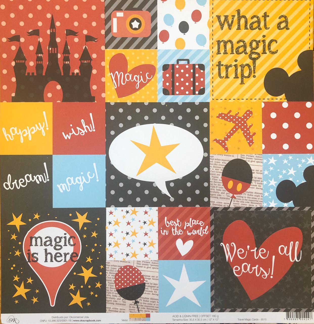 8515 - Papel Scrap - Travel Magic Cards - Coleção Disney - Ok Scrapbook