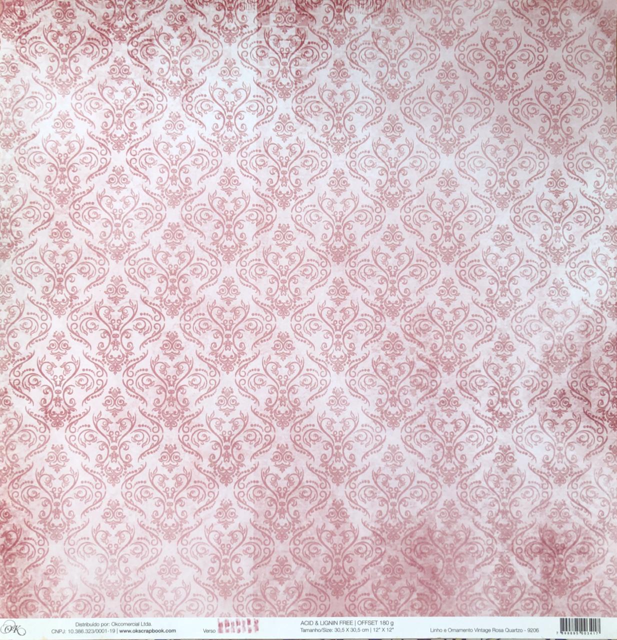 9206 - Papel Scrap - Linho e Ornamento Vintage Rosa Quartzo - Ok Scrapbook