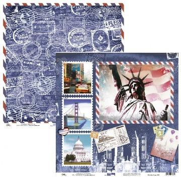 Papel Scrap - USA e Selos Vintage - Ok Scrapbook (9503)