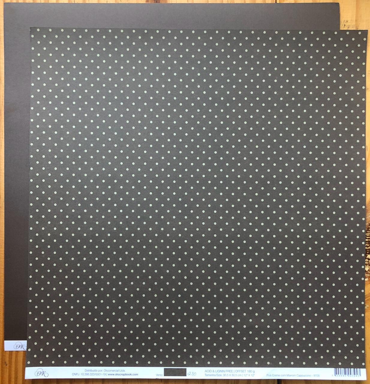 9705 - Papel Scrap - Poá Creme com Marrom Capuccino - Ok Scrapbook